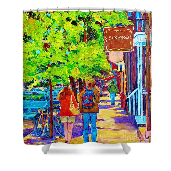 Romantic Stroll Along Rue Laurier Montreal Street Scenes Paintings Carole Spandau Shower Curtain by Carole Spandau