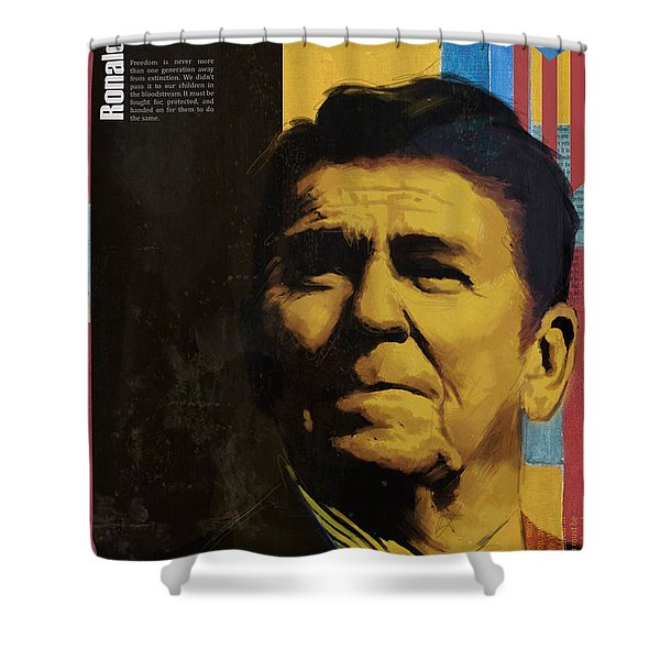 Ronald Reagan Shower Curtain by Corporate Art Task Force