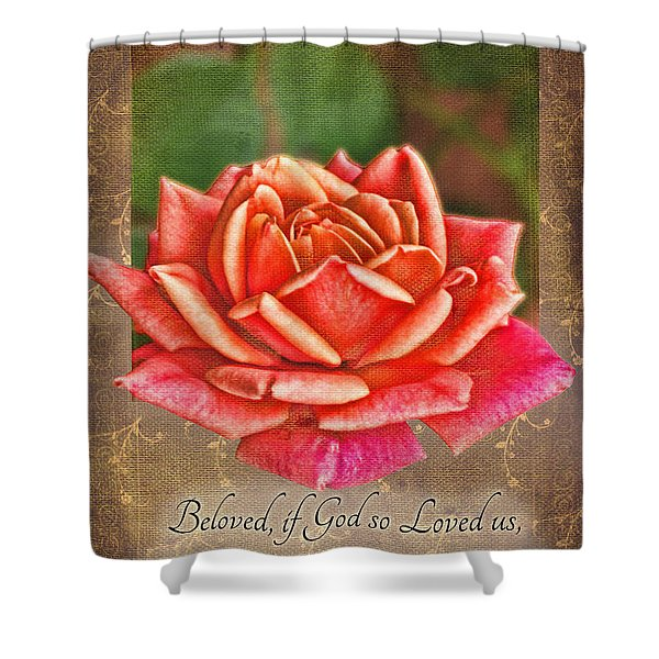 Rose Greeting Card With Verse Shower Curtain by Debbie Portwood