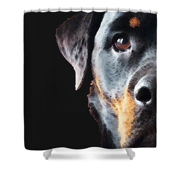 Rottie Love - Rottweiler Art By Sharon Cummings Shower Curtain by Sharon Cummings
