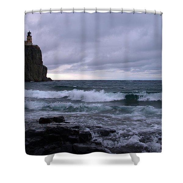 Rough Surf At Split Rock Shower Curtain by James Peterson