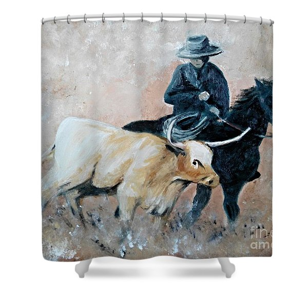 Roundup Shower Curtain by Isabella F Abbie Shores LstAngel Arts