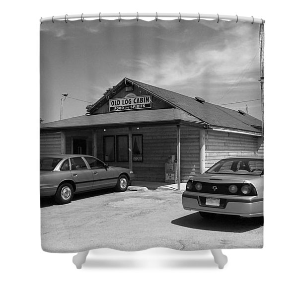 Route 66 - Old Log Cabin Shower Curtain by Frank Romeo