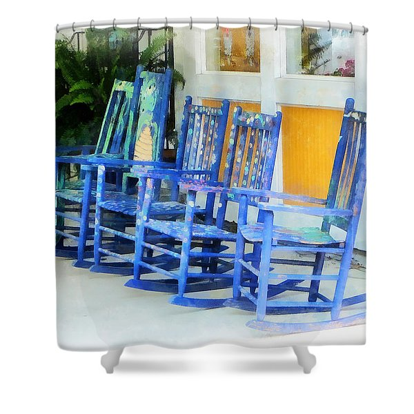 Row Of Blue Rocking Chairs Shower Curtain by Susan Savad