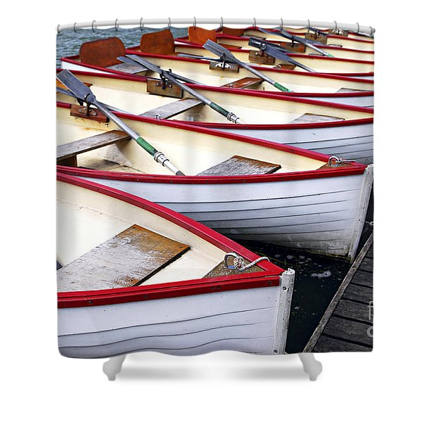 Rowboats Shower Curtain by Elena Elisseeva