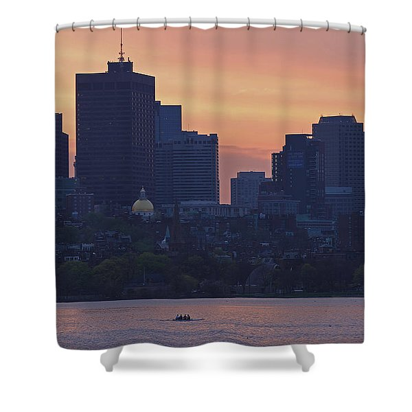 Rowing Boston Shower Curtain by Juergen Roth