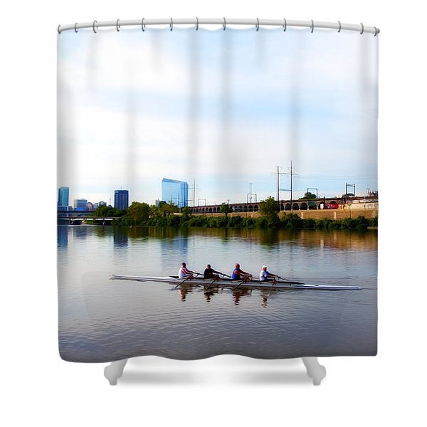 Rowing in Philadelphia Shower Curtain by Bill Cannon