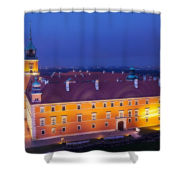 Royal Castle In Warsaw At Night Shower Curtain by Artur Bogacki
