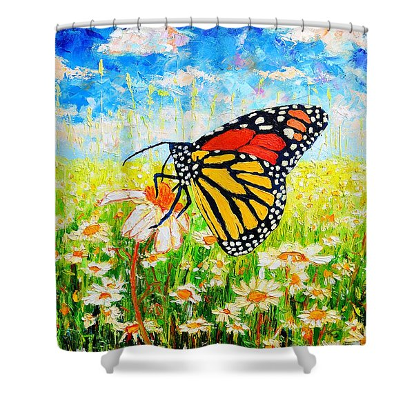 Royal Monarch Butterfly In Daisies Shower Curtain by Ana Maria Edulescu