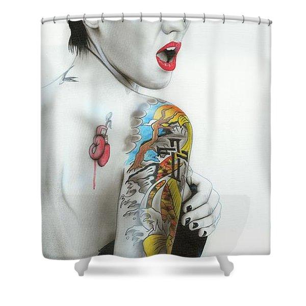 'Ruby III' Shower Curtain by Christian Chapman Art