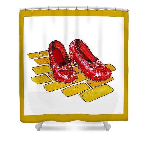 Ruby Slippers The Wizard Of Oz  Shower Curtain by Irina Sztukowski