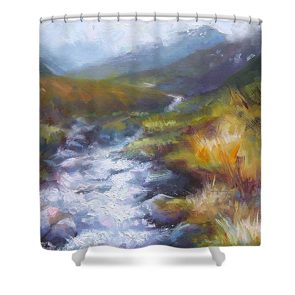 Running Down - Landscape View From Hatcher Pass Shower Curtain by Talya Johnson