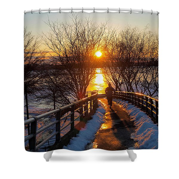 Running in Sunset Shower Curtain by Paul Ge