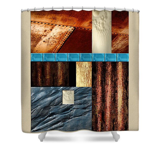 Rust And Rocks Rectangles Shower Curtain by Elaine Plesser