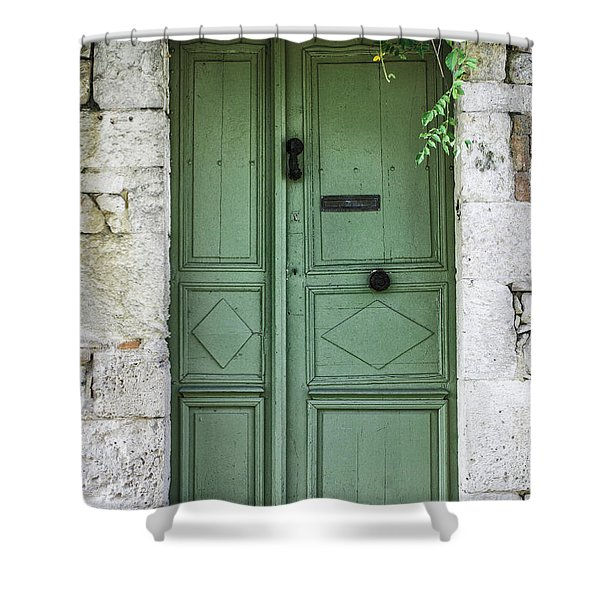 Rustic green door with vines Shower Curtain by Georgia Fowler