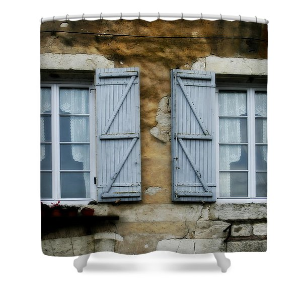 Rustic Wooden Window Shutters Shower Curtain by Nomad Art And  Design