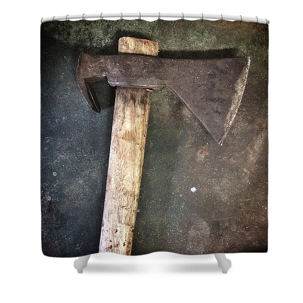 Rusty Old Axe Shower Curtain by Carlos Caetano