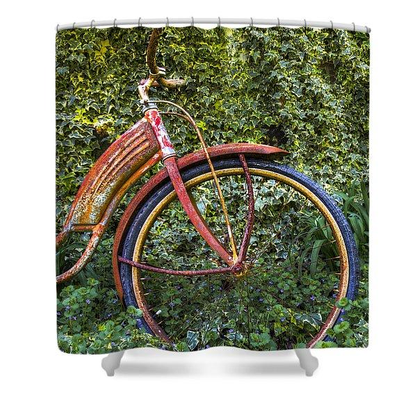 Rusty Wheel Shower Curtain by Debra and Dave Vanderlaan