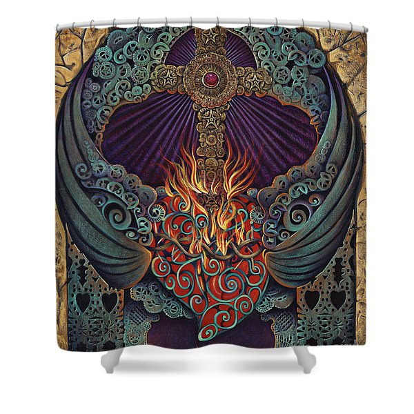 Sacred Heart Shower Curtain by Ricardo Chavez-Mendez