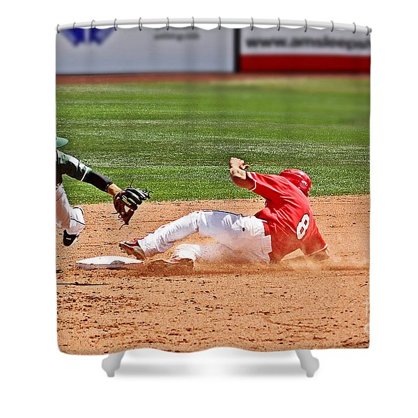 Safe at second Shower Curtain by Bob Hislop