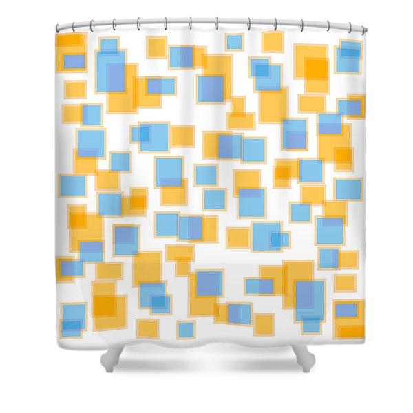 Saffron Yellow And Azure Blue Shower Curtain by Frank Tschakert