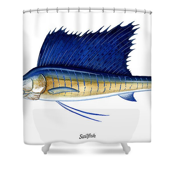 Sailfish Shower Curtain by Charles Harden
