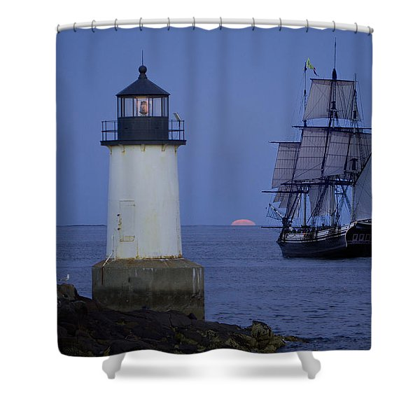 Sailing out for the red moon Shower Curtain by Jeff Folger