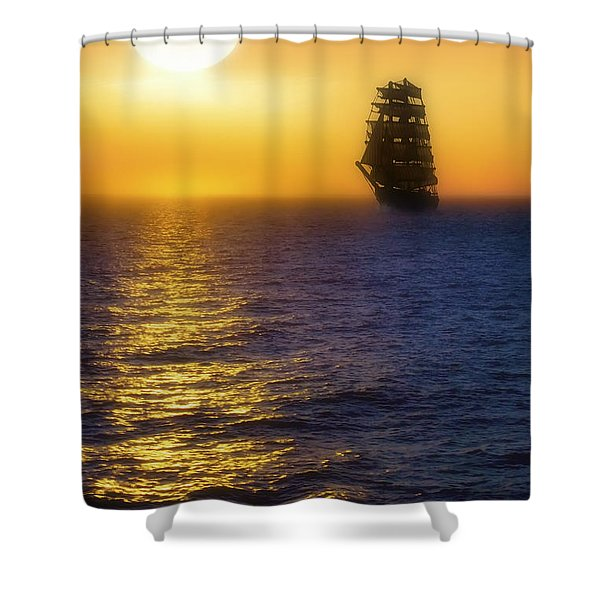 Sailing Out Of The Fog At Sunrise Shower Curtain by Jason Politte