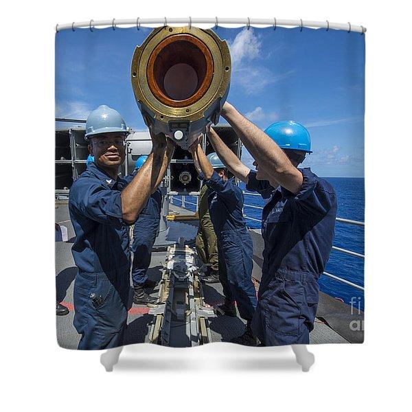 Sailors Load Rim-7 Sea Sparrow Missiles Shower Curtain by Stocktrek Images