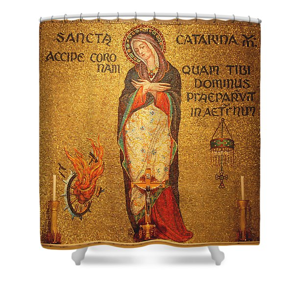 Saint Catherine of Alexandria Altar Shower Curtain by Philip Ralley