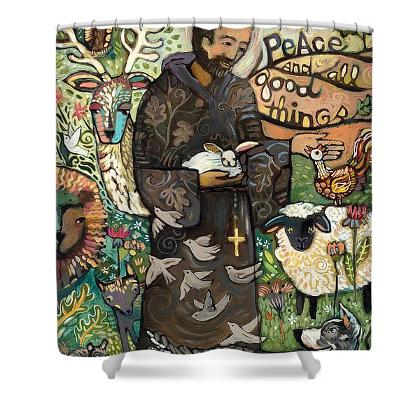 Saint Francis Shower Curtain by Jen Norton