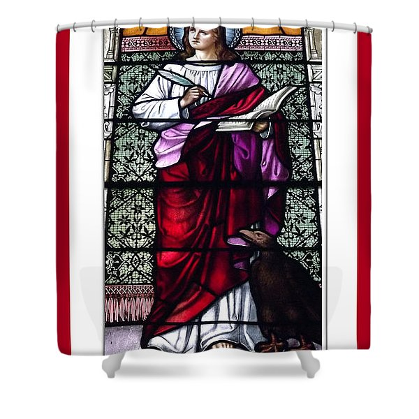 Saint John the Evangelist Stained Glass Window Shower Curtain by Rose Santuci-Sofranko