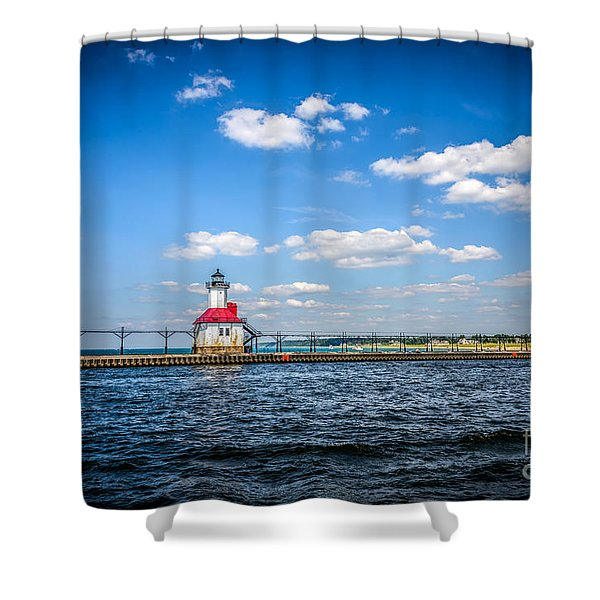Saint Joseph Lighthouse and Pier Picture Shower Curtain by Paul Velgos