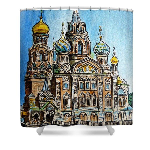 Saint Petersburg Russia The Church of Our Savior on the Spilled Blood Shower Curtain by Irina Sztukowski