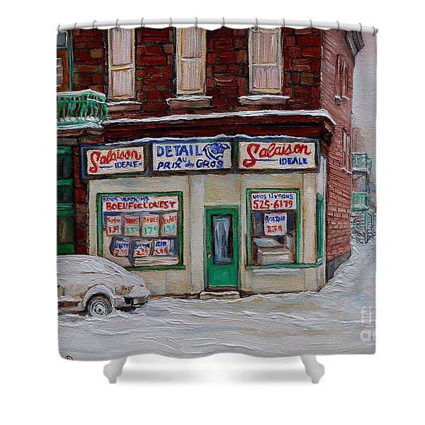 Salaison Ideale Montreal Shower Curtain by Carole Spandau