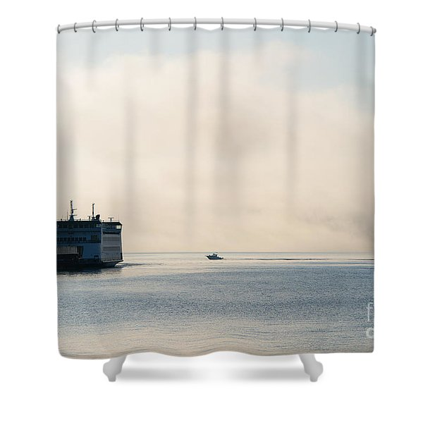 Salish Into The Fog Shower Curtain by Mike  Dawson