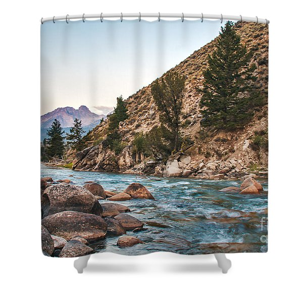 Salmon River In The Twilight Shower Curtain by Robert Bales