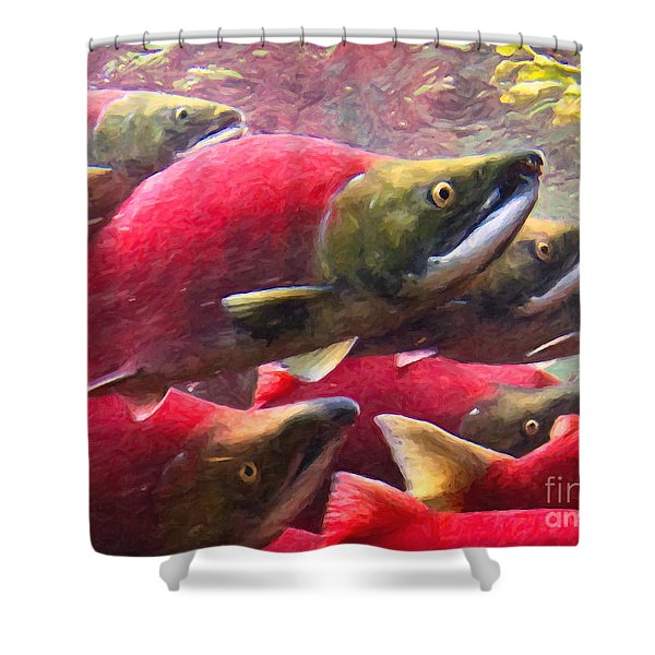 Salmon Run - Painterly Shower Curtain by Wingsdomain Art and Photography
