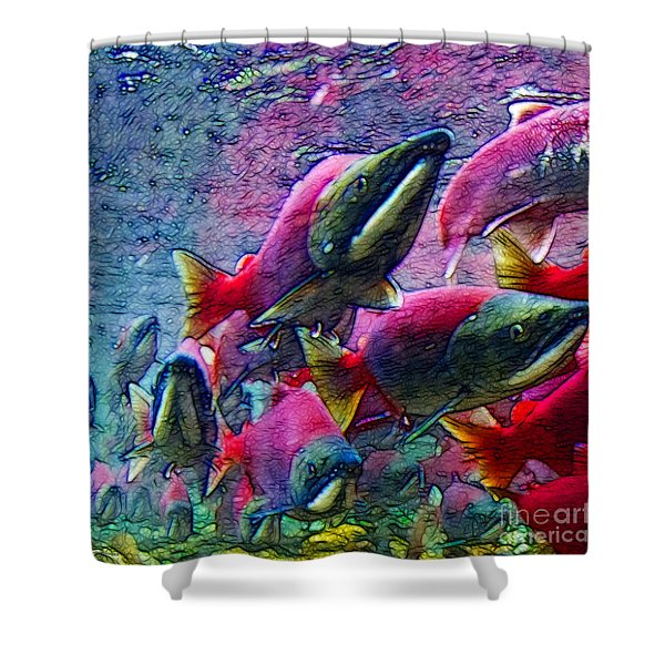 Salmon Run - Square - 2013-0103 Shower Curtain by Wingsdomain Art and Photography