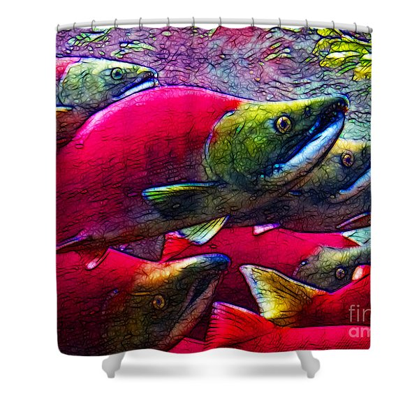 Salmon Run Shower Curtain by Wingsdomain Art and Photography