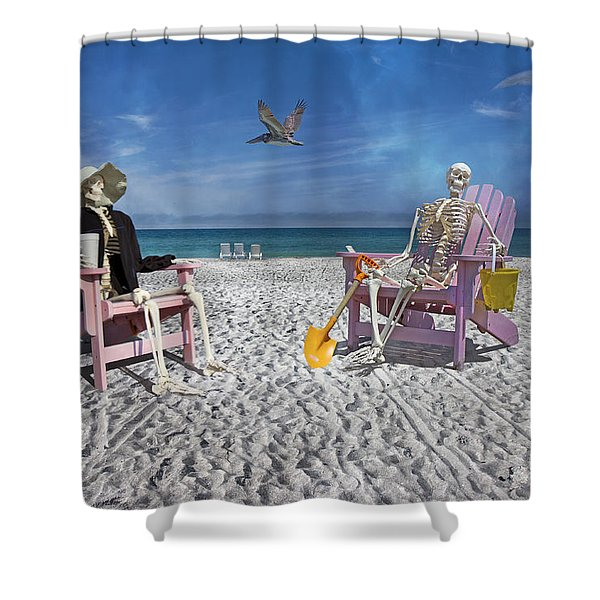 Sam And His Friend Visit Long Boat Key Shower Curtain by Betsy C  Knapp