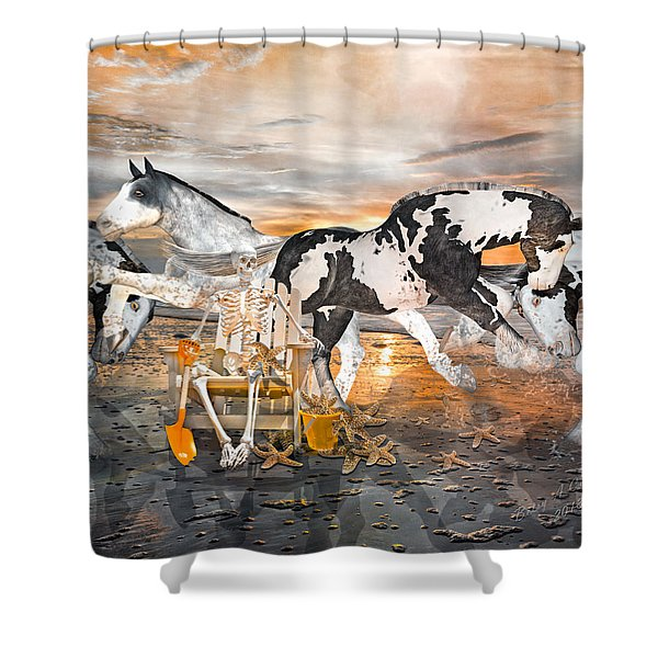 Sam and the Horses Shower Curtain by Betsy C  Knapp