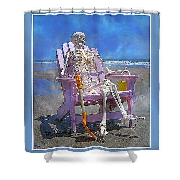 Sam Enjoys the Beach -- Again Shower Curtain by Betsy C  Knapp