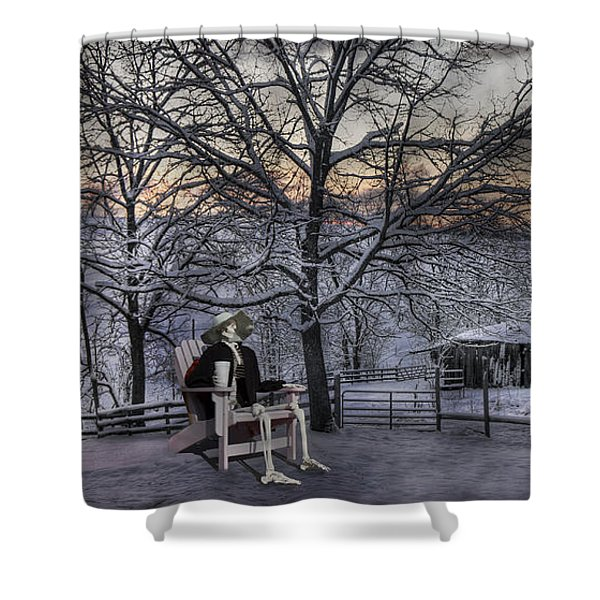 Sam Visits Winter Wonderland Shower Curtain by Betsy C  Knapp