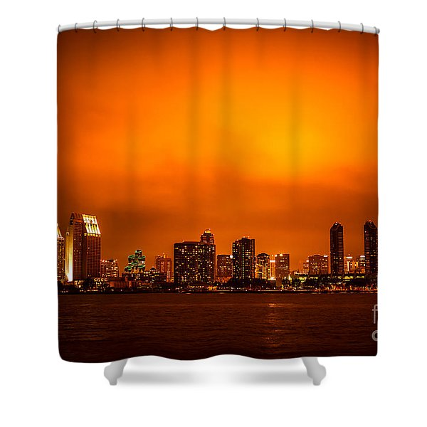 San Diego Cityscape at Night Shower Curtain by Paul Velgos