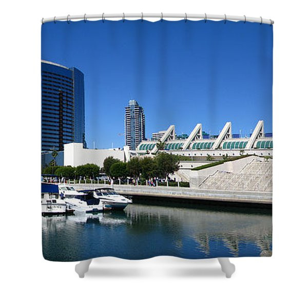 San Diego Panoramic View Shower Curtain by Bedros Awak