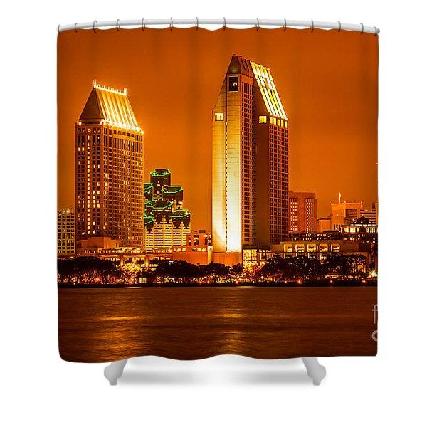 San Diego Skyline At Night Along San Diego Bay Shower Curtain by Paul Velgos