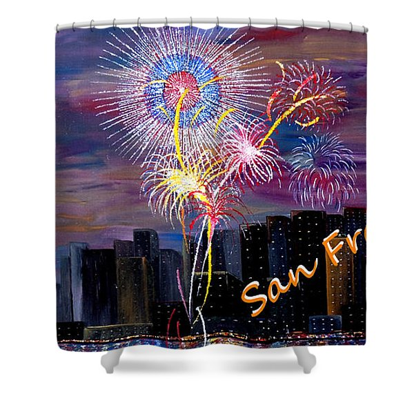 San Francisco Bay City Celebration Shower Curtain by Mark Moore