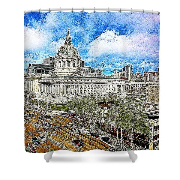 San Francisco City Hall 5D22507 Photoart Shower Curtain by Wingsdomain Art and Photography