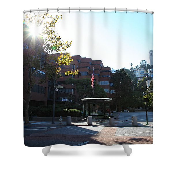 San Francisco Coit Tower At Levis Plaza 5D26189 Shower Curtain by Wingsdomain Art and Photography